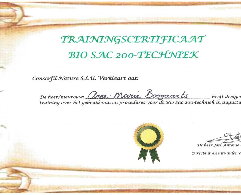 Certificaat Bio Sac